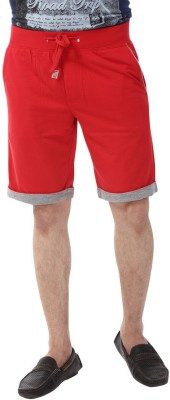 YOO Solid Men's Red Basic Shorts