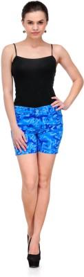 Fashion Cult Printed Women's Blue Hotpants