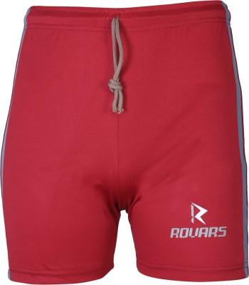 Rovars Solid Men's Maroon Cycling Shorts, Sports Shorts
