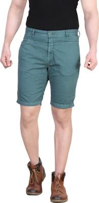 King & I Solid Men's Green Cargo Shorts