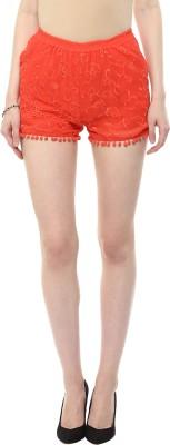 Rose Vanessa Printed Women's Orange Baggy Shorts