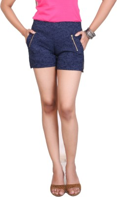 Ruok Embroidered Women's Dark Blue Hotpants