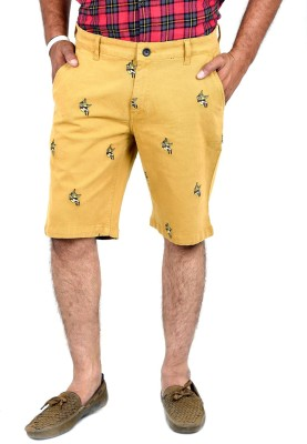 Indigen Embroidered Men's Beige Chino Shorts