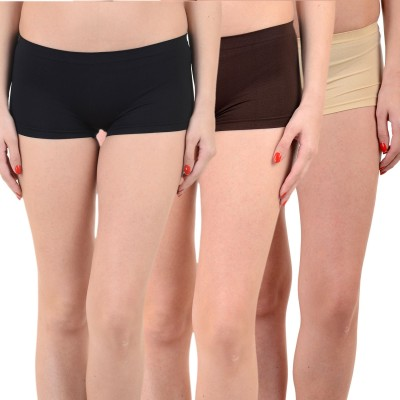 Mynte Solid Women's Black, Black, Brown Cycling Shorts, Gym Shorts, Swim Shorts