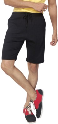 Allocate Solid Men's Black Gym Shorts, Night Shorts, Running Shorts, Sports Shorts