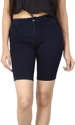 FCK-3 Solid Women's Dark Blue Denim Shorts