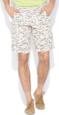 Status Quo Printed Men's Beige Basic Shorts