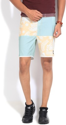 Quiksilver Printed Men,s Blue, Yellow Basic Shorts