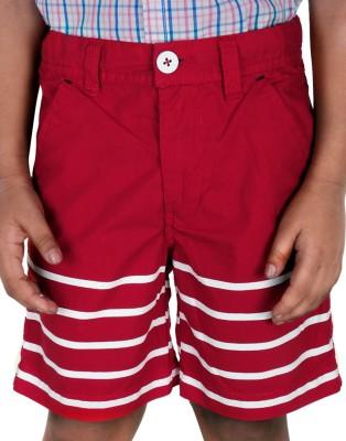 Biker Boys Striped Boy's Red Basic Shorts