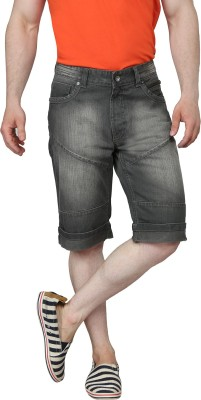 Ripfly Solid Men's Black Denim Shorts