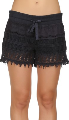 Ozel Solid Women's Black Basic Shorts
