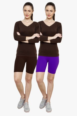 Softrose Solid Women's Brown, Purple Cycling Shorts