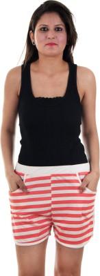 Gwyn Lingerie Striped Women's White Basic Shorts