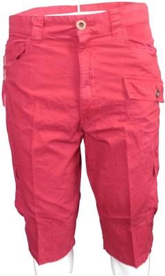 Hi-Sport Solid Men's Red Cargo Shorts