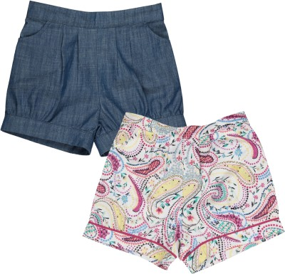 My Lil,Berry Self Design Girl's Multicolor Basic Shorts