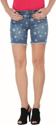 Sheenbottoms Printed Women's Blue Denim Shorts