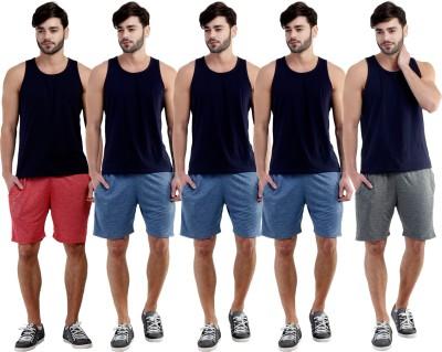 Dee Mannequin Self Design Men's Red, Dark Blue, Dark Blue, Dark Blue, Grey Sports Shorts