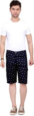 Trustedsnap Printed Men's Dark Blue Cargo Shorts