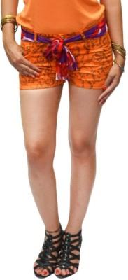 S9 Women Floral Print Women's Orange, Brown Denim Shorts