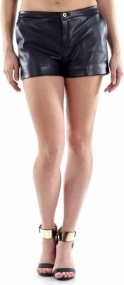 Fuziv Solid Women's Black Basic Shorts