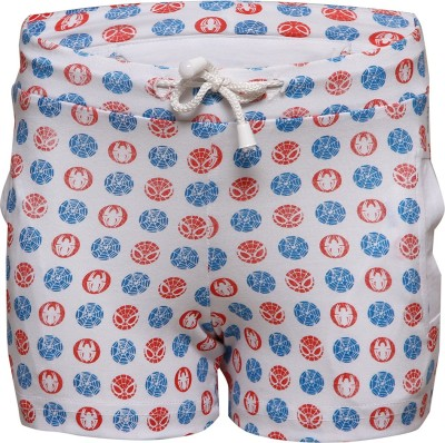 Tickles By Inmark Printed Boy,s White Basic Shorts