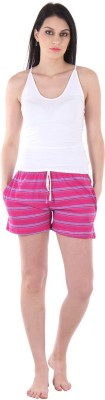 Private Lives Striped Women's Maroon Night Shorts