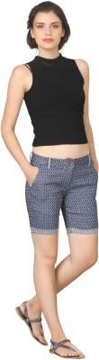 True Fashion Checkered Women's Denim Blue Denim Shorts