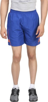 Trendy Trotters Solid Men's Blue Sports Shorts