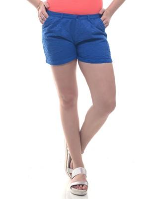 Lyla Embroidered Women's Blue Basic Shorts