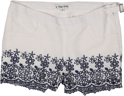 Allen Solly Embroidered Girl's White Basic Shorts