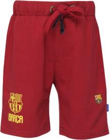 FCB Short For Boys Cotton Linen Blend, Cotton Nylon Blend, Cotton Linen Blend(Maroon, Pack of 1)