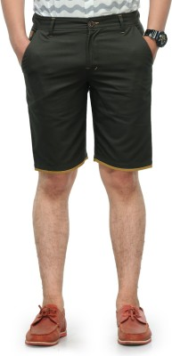 Haute Couture Solid Men,s Green Chino Shorts