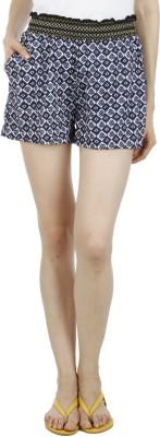 Wineberry Printed Women's Dark Blue Hotpants