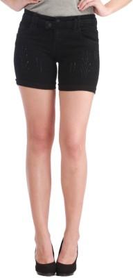 Cali Republic Solid Women's Denim Black Denim Shorts at flipkart
