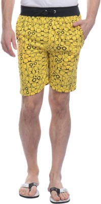 FREE RUNNER Printed Men's Yellow Beach Shorts