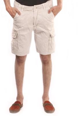 Again Solid Men's Beige Cargo Shorts
