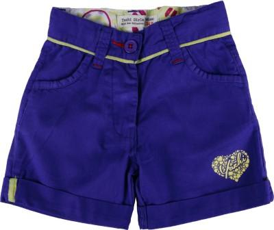 Yazhi Solid Girl's Blue Basic Shorts