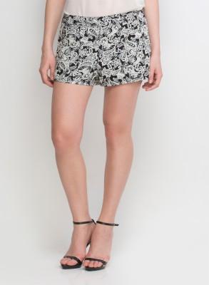 Oxolloxo Printed Women's Black Basic Shorts