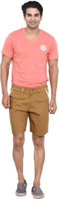 Calloway Solid Men's Beige, White Basic Shorts