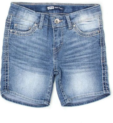 Levi's Solid Girl's Denim Blue Denim Shorts