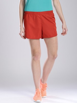 HRX by Hrithik Roshan Solid Women's Red Basic Shorts at flipkart