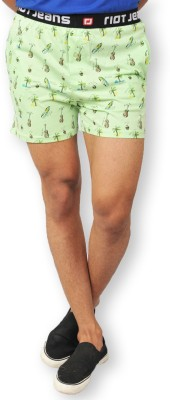 Riot Jeans Printed Men's Light Green Boxer Shorts
