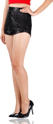 Miss Chase Solid Women's Black Basic Shorts at flipkart