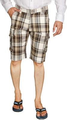 You Checkered Men's Brown, Beige Night Shorts
