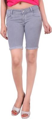 Airways Solid Womens Grey Denim Shorts