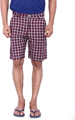 Calloway Checkered Men's Red, White Basic Shorts