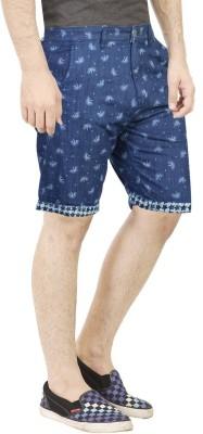 Primo Printed Men's Blue Basic Shorts, Beach Shorts, Bermuda Shorts, Denim Shorts