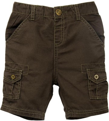 Mom & Me Solid Boy's Brown Cargo Shorts