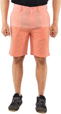 Blue Wave Printed Men's Orange Basic Shorts