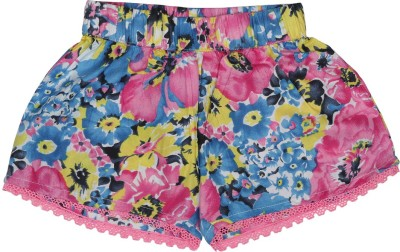 Addyvero Floral Print Girl's Pink, Blue Basic Shorts